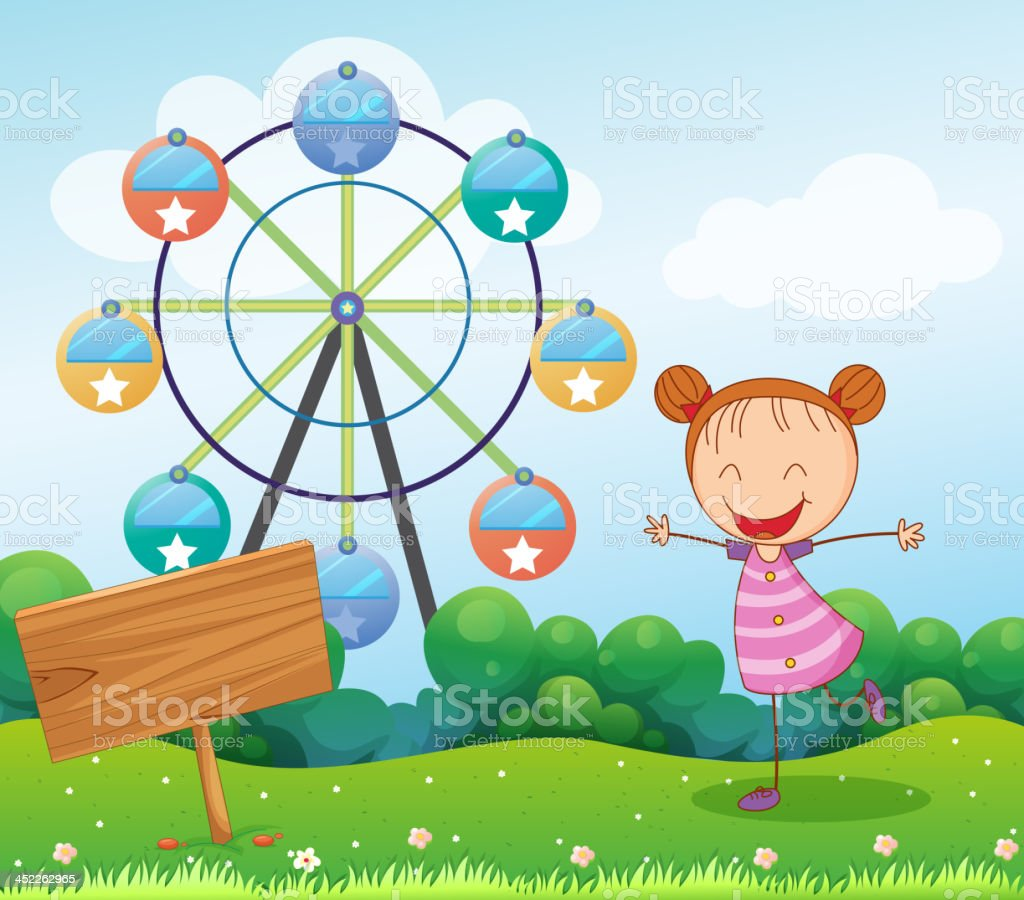 Girl in the hill with a wooden signboard royalty-free stock vector art