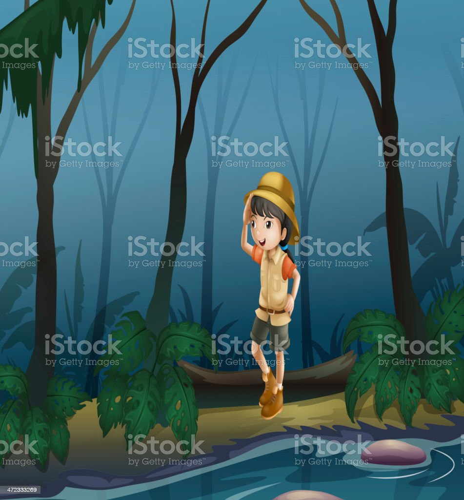 Girl in the middle of forest near river royalty-free girl in the middle of forest near river stock vector art & more images of adult