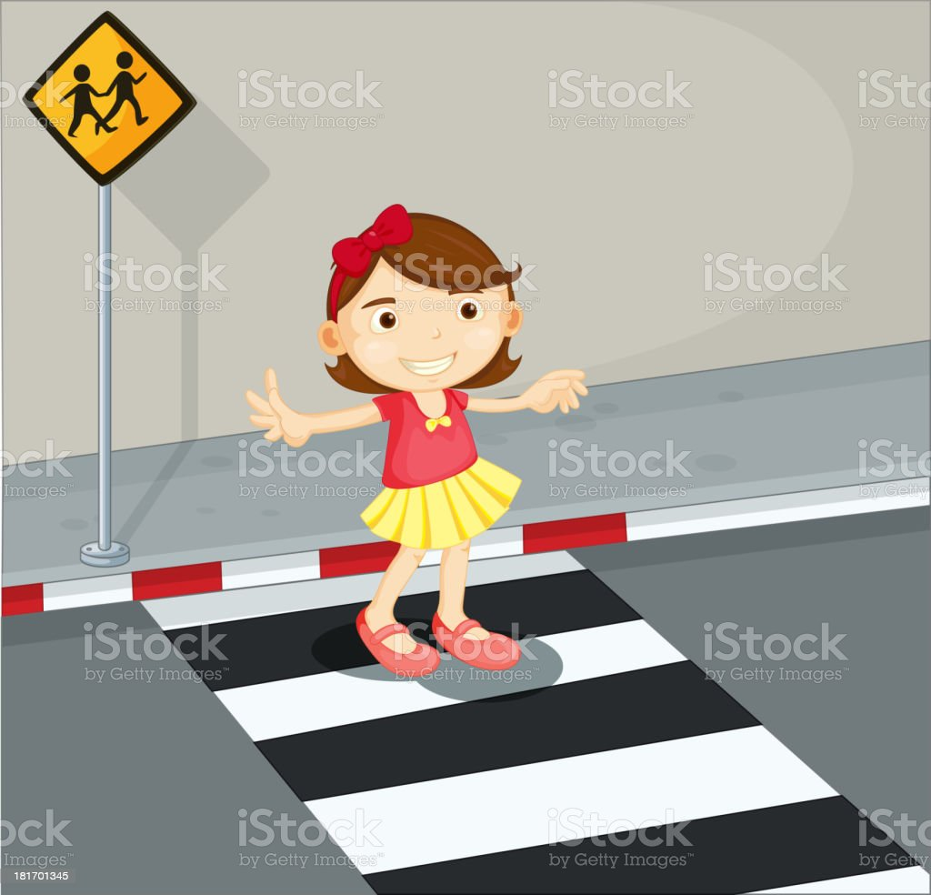 Girl in the pedestrian lane royalty-free stock vector art