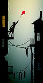 girl in the slum holding the red balloon that flying away,concept dream in slum, city scene, vector