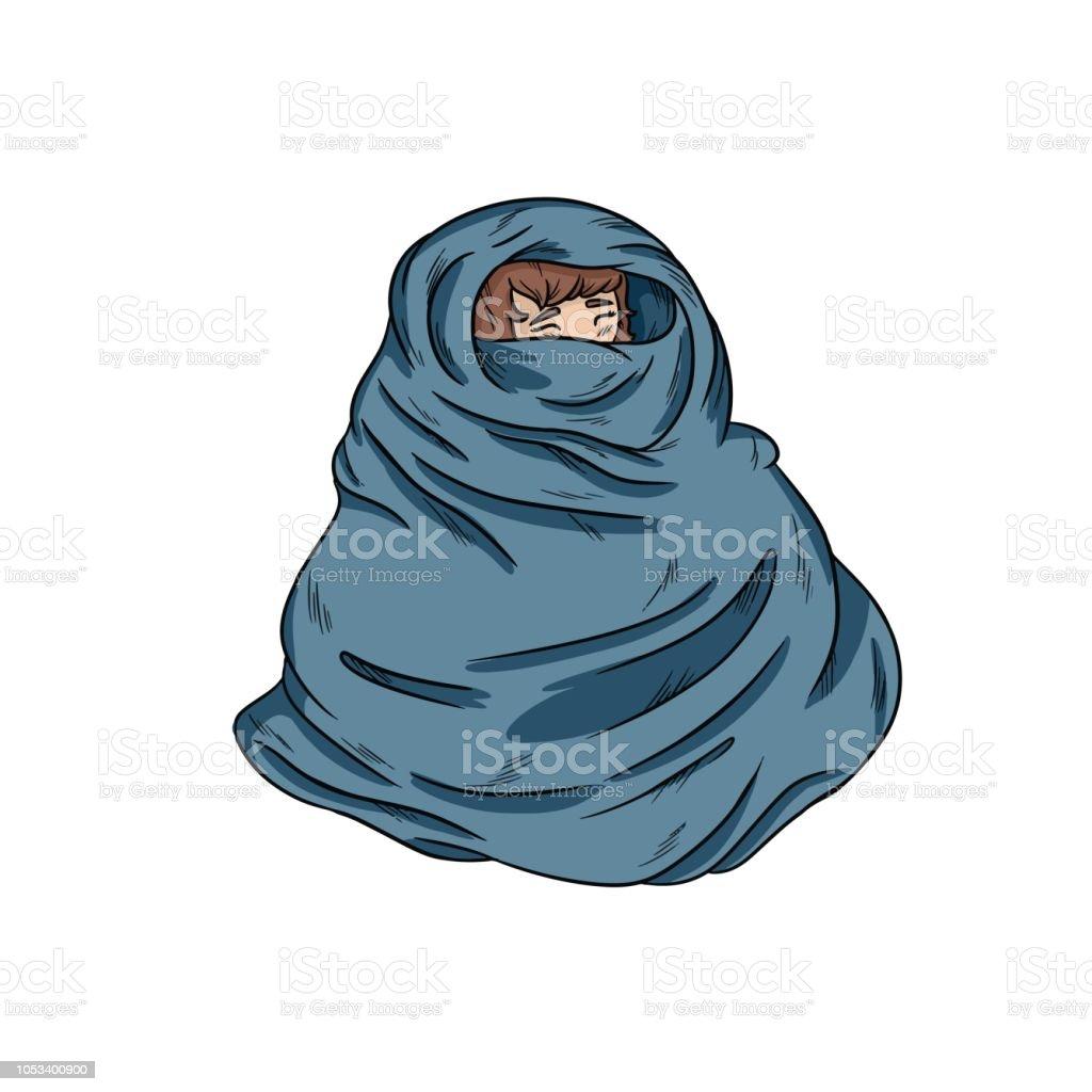 Girl In Warm Cozy Blanket Vector Handdrawn Illustration ...