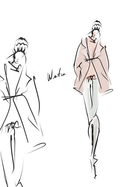 Girl in winter clothes. Fashion illustration Sketch, vector fashion design sketches stock illustrations