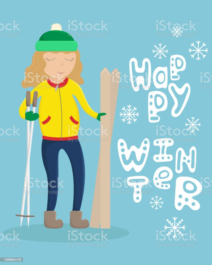 ed280415d0 Girl in winter clothes with skis in hand. Flat winter vector illustration  with lettering. Happy winter. - Illustration .