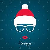 Girl in winter red hat. Christmas vector illustration.