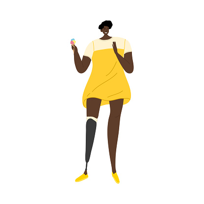Girl in yellow dress with prosthetic leg eating ice cream. Vector illustration in flat cartoon style.