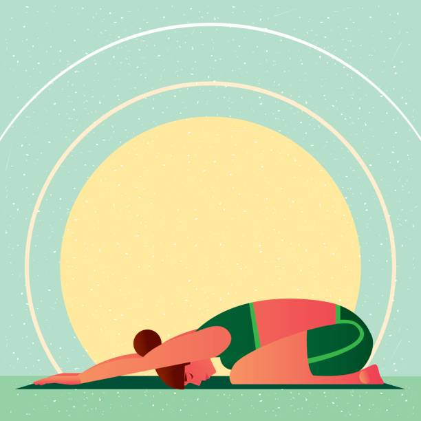 Girl in Yoga Childs Resting Pose or Balasana Sporty girl sitting in the Childs Resting Pose or Balasana, against the background of the sun, in flat cartoon style. Yoga or Pilates concept. Side view childs pose stock illustrations