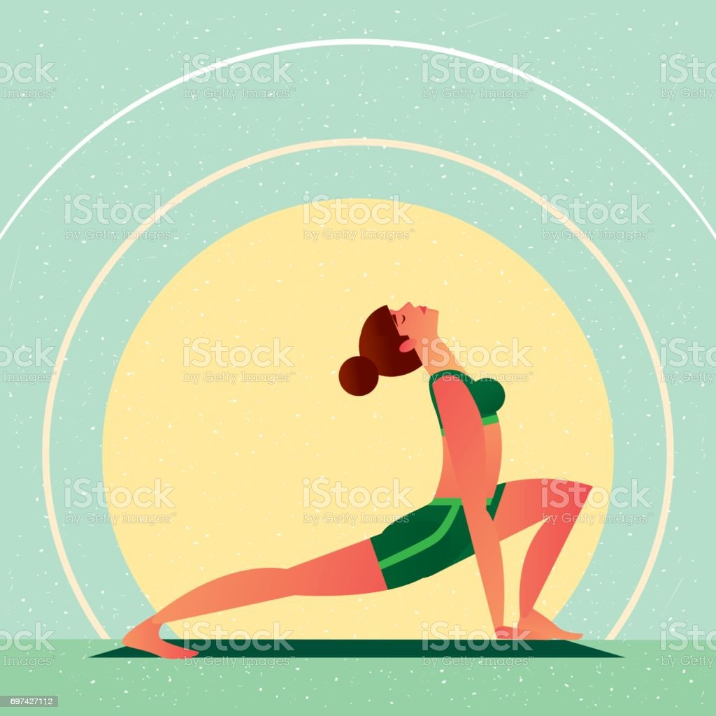 Girl In Yoga Open Heart Chakra Warrior Pose Stock Illustration - Download  Image Now