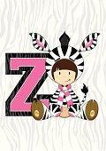 Cute Girl in Zebra Costume Letter Z Alphabet Learning Illustration.