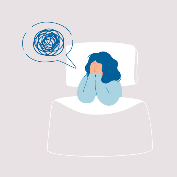 Girl insomniac has confused thoughts in her mind at night, covering her face with her hands Girl in depression has confused thoughts in her mind at night, covering her face with her hands.Tired woman suffer from insomnia, sleeplessness, sleep disorder, nightmare.Vector illustration in flat exhaustion stock illustrations