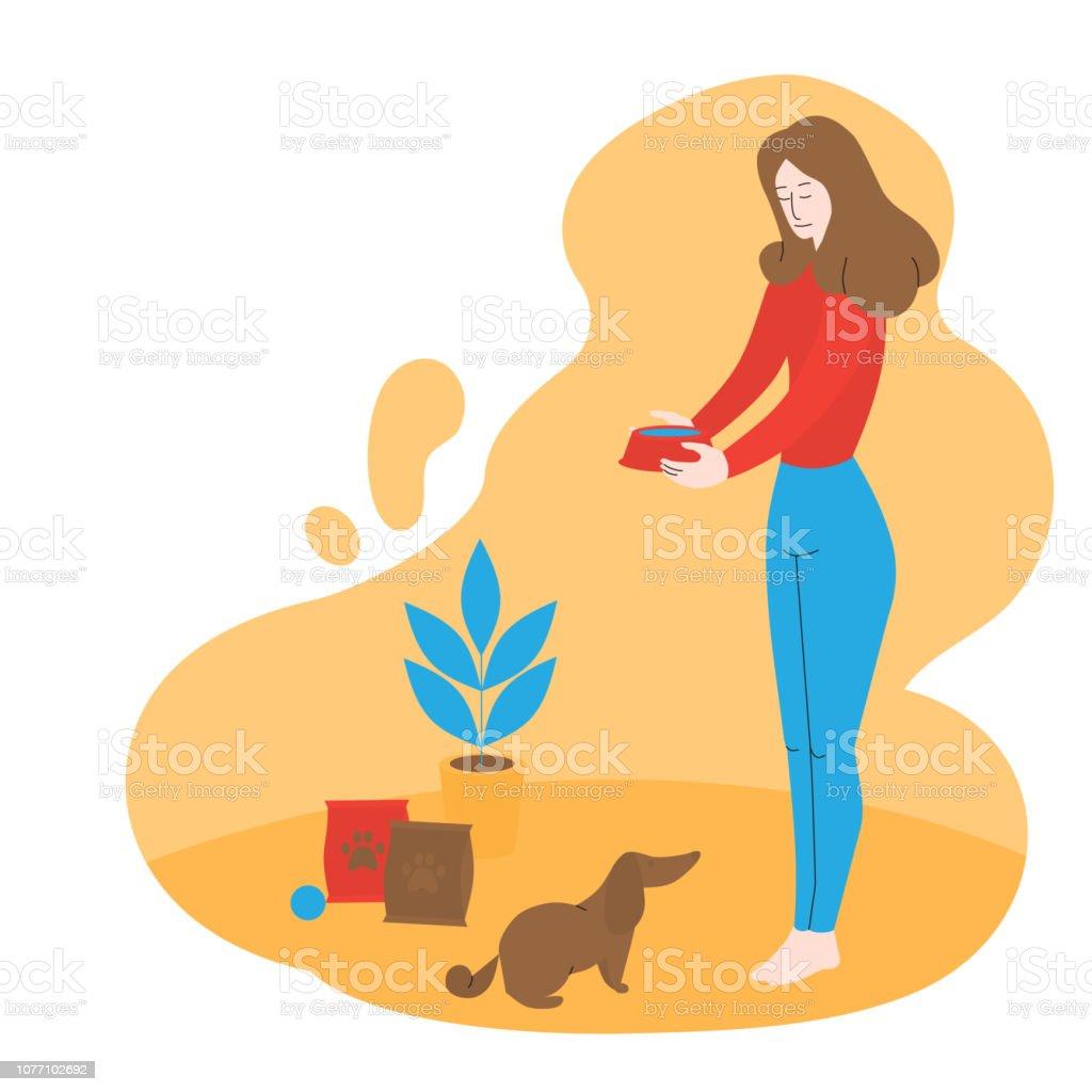 Ilustración De Chica Es Alimentación Perro Sin Hogar En El Albergue