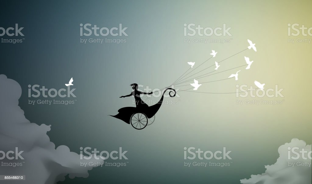 girl is flying on fairy carriage and holding flock of pigeons, fly to the sun,