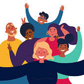 Girl is making funny selfie group picture. Female and male friends are posing for group selfshot photography.  Caption of happy and cheerful man and women with peace signs. on selfieparty. Vector flat