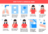 istock Girl is putting on mask to prevent virus. Illustration of steps, how to wear surgical mask. Instruction vector of cleaning hand 1212919562