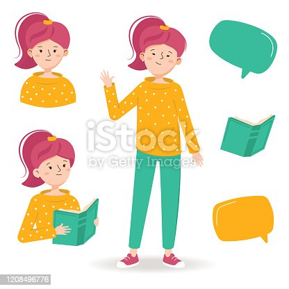 istock Girl is reading a book and waving by hand. Female character reads a book 1208496776
