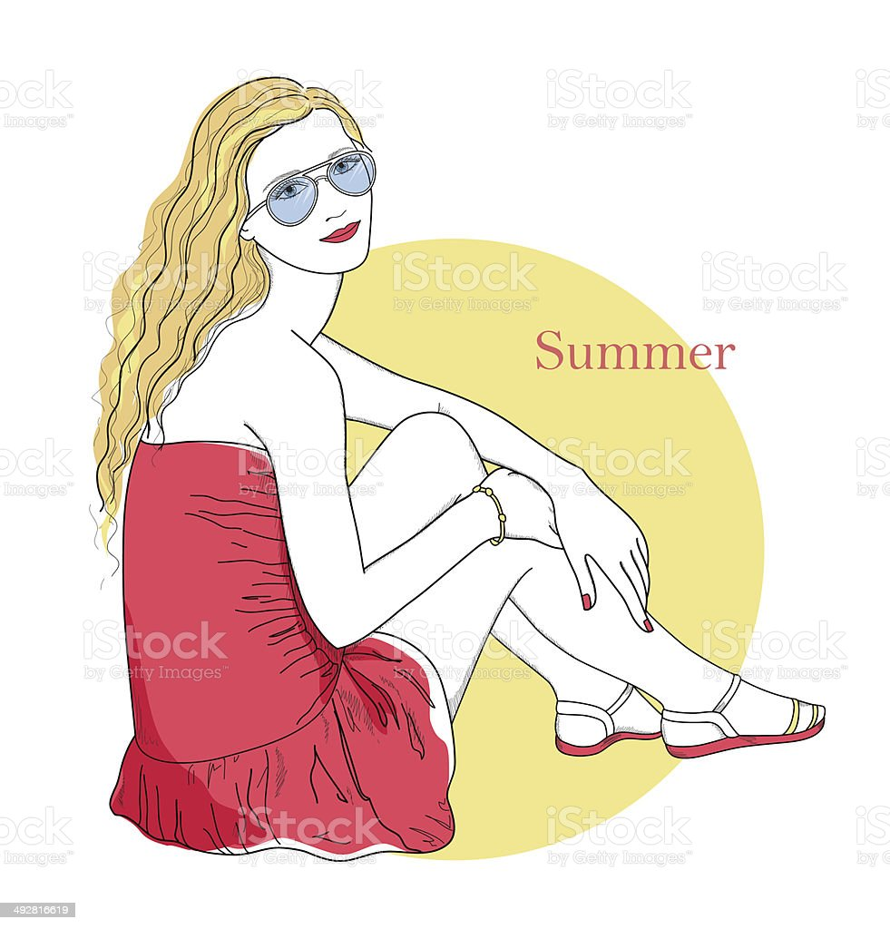 Girl is sitting at sunset royalty-free stock vector art