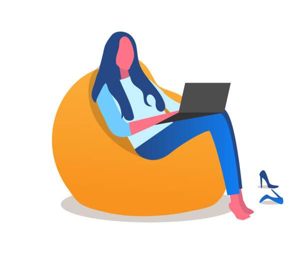 eine mädchen sitzt in einem stuhl barfuß mit einem laptop. büro, coworking. vektor-illustration der modernen weißen hintergrund - lesestrategien stock-grafiken, -clipart, -cartoons und -symbole