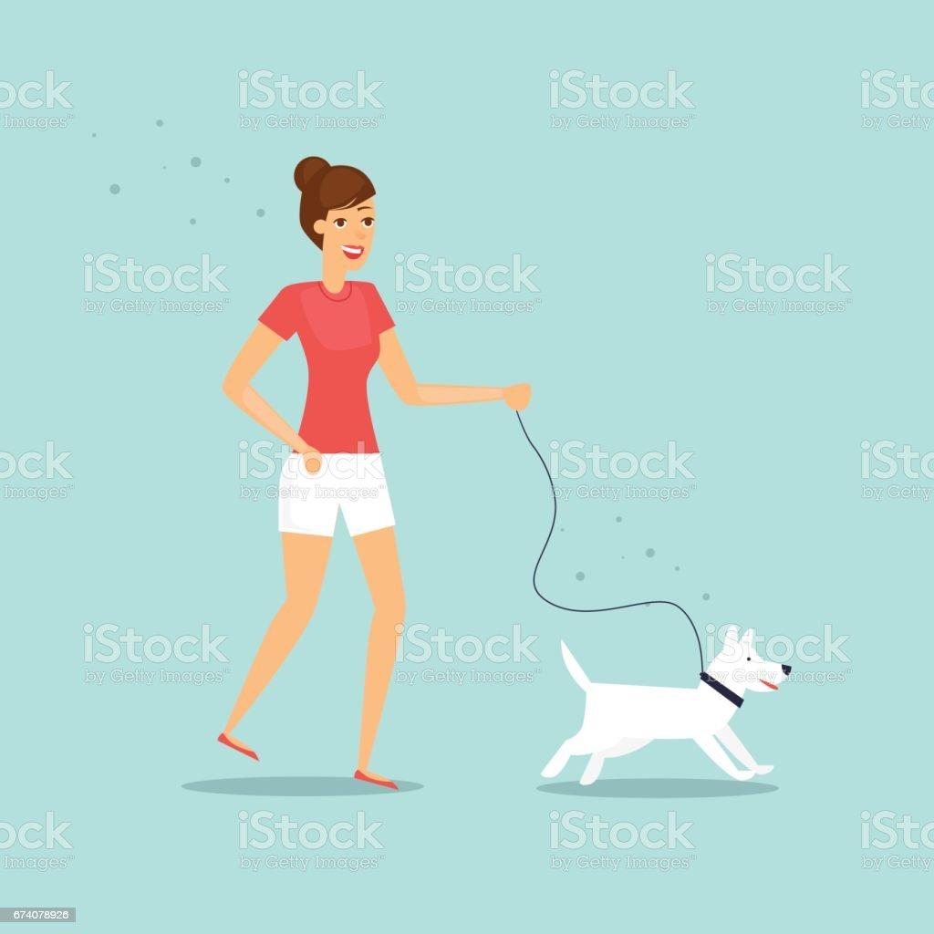Girl is walking a dog. Flat vector illustration in cartoon style.