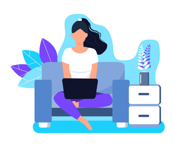 illustrazioni stock, clip art, cartoni animati e icone di tendenza di girl is working remote on laptop in sofa. freelancer job illustration. home business concept vector on floral background. - divano procrastinazione