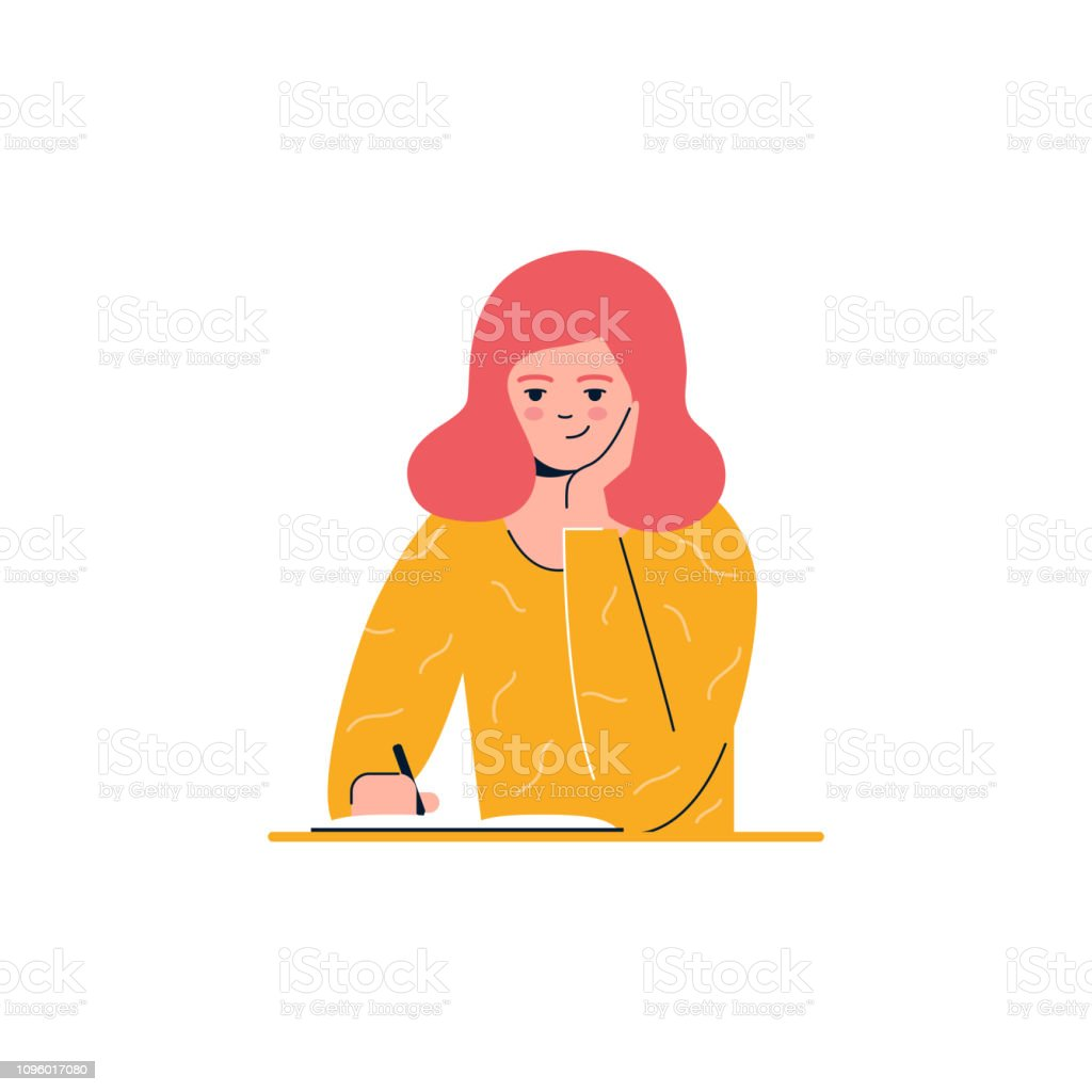 Girl is writing, education, learning vector illustration royalty-free girl is writing education learning vector illustration stock illustration - download image now