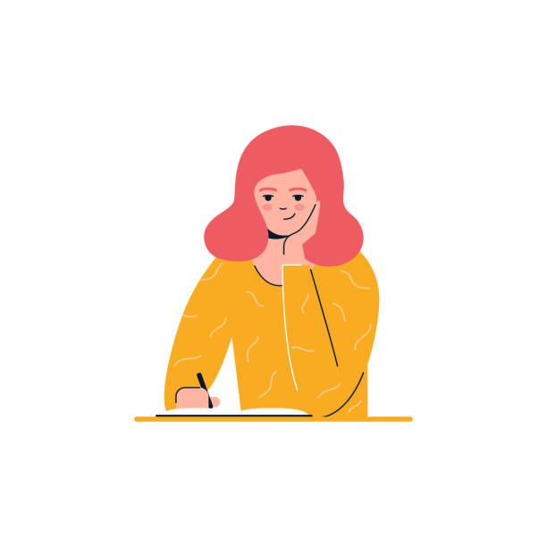 девушка пишет, образование, обучение вектор иллюстрации - писать stock illustrations