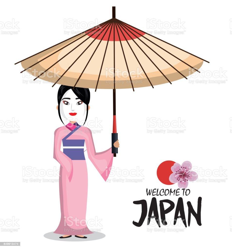 Ilustración de Icono De Chica Kimono Japonés Japón Bienvenido y más ...