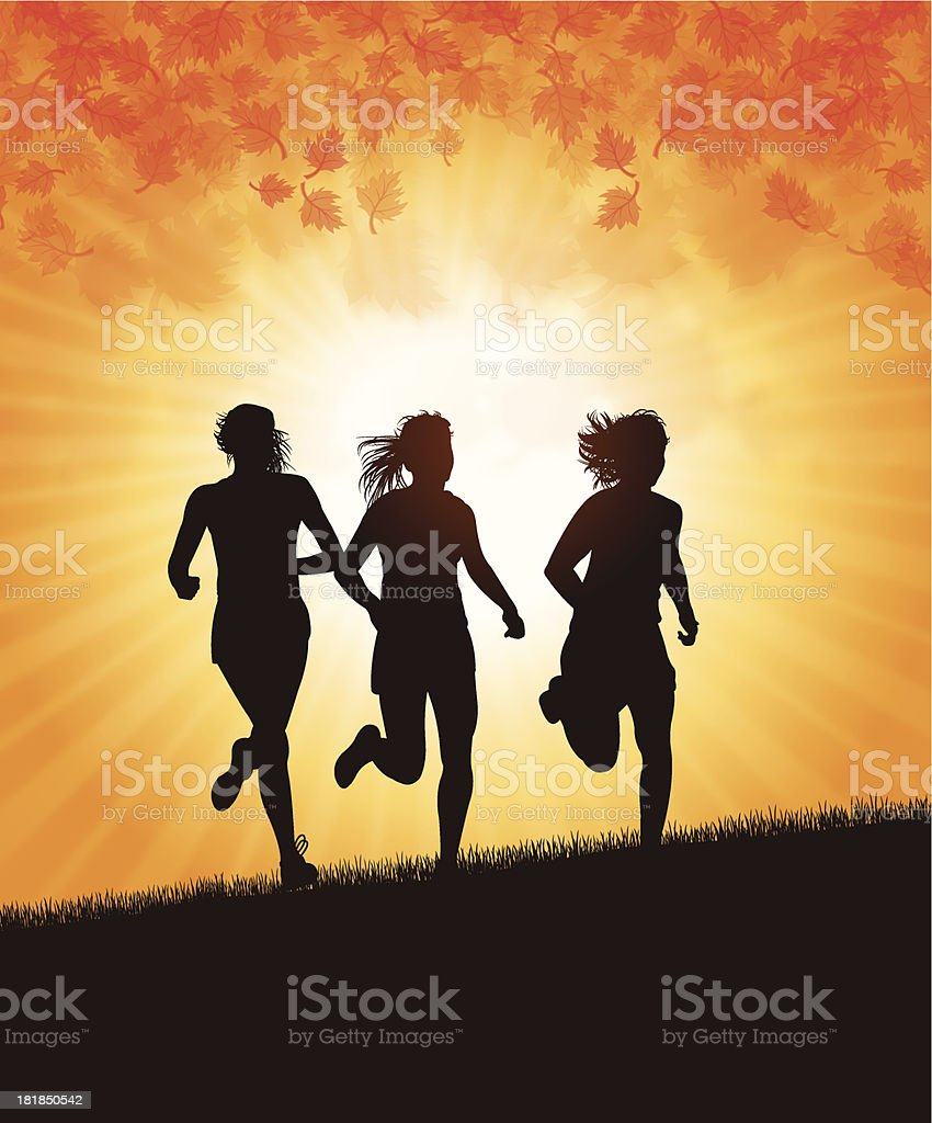 Girl Joggers In Autumn Season royalty-free stock vector art