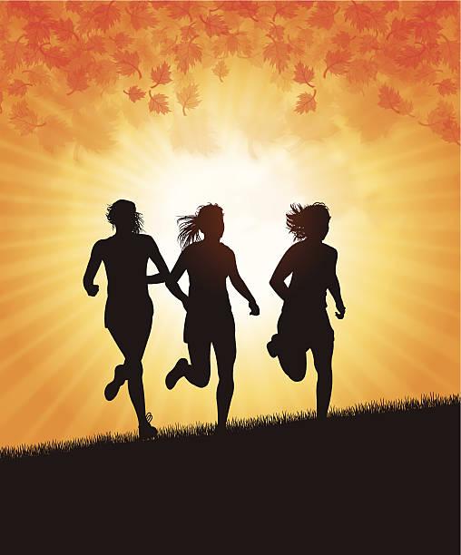 mädchen laufen im herbst-saison - langstreckenlauf stock-grafiken, -clipart, -cartoons und -symbole