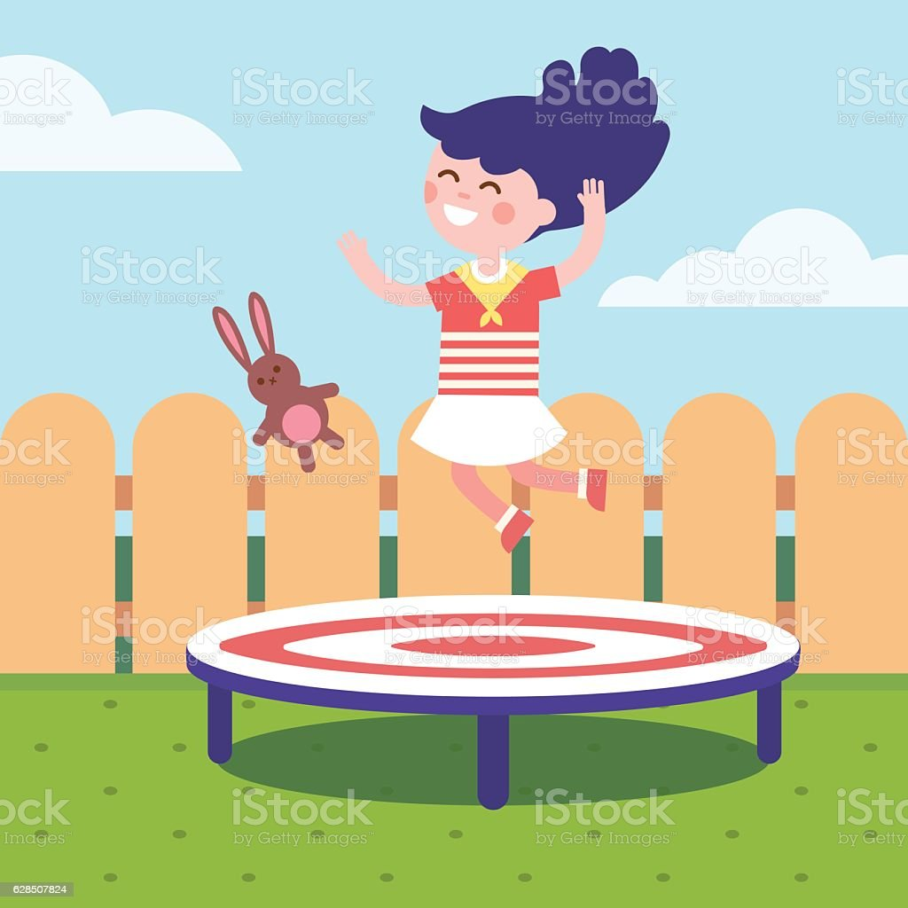 Girl jumping on a trampoline at the backyard vector art illustration