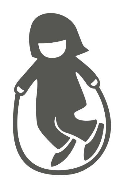 stockillustraties, clipart, cartoons en iconen met meisje springen touw - alleen één meisje