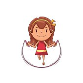 Child jumping rope,  happy kid skip, exercise, cute female cartoon character, vector illustration, isolated, white background