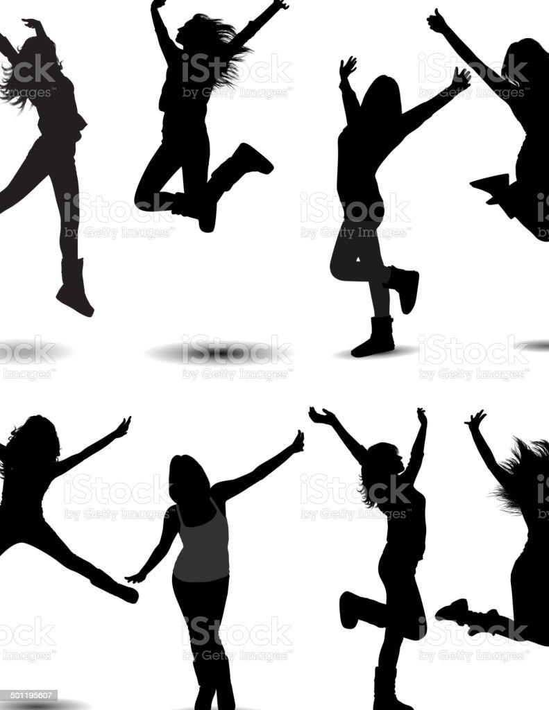 Girl Jumping vector art illustration