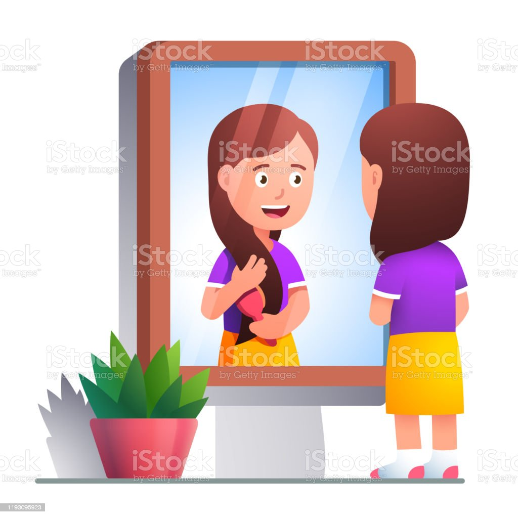 Girl Kid Brushing Hair With Comb In Front Of Mirror Looking At Her Cute Face Reflection Beautiful Little Lady Taking Care Of Her Long Hair Flat Vector Illustration Stock Illustration Download