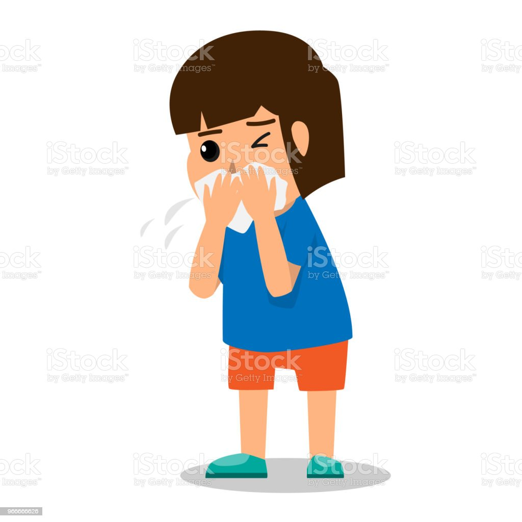 girl kid coughing because sick and fever. health care cartoon character concept vector illustration. vector art illustration