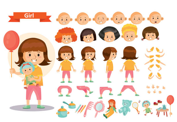 girl kid playing toys vector cartoon child character constructor isolated body parts creation - lalka stock illustrations