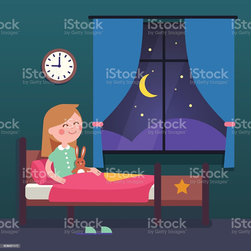 Girl kid preparing to sleep bedtime in bed vector art illustration