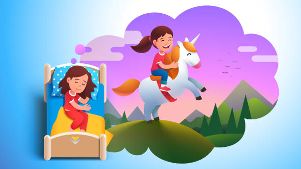 ilustrações de stock, clip art, desenhos animados e ícones de girl kid sleeping in bed & dreaming about riding unicorn on meadow. dream cloud with happy kid sitting on unicorn. child lying in bed having good dream. childhood fantasy. flat vector illustration - unicorn bed