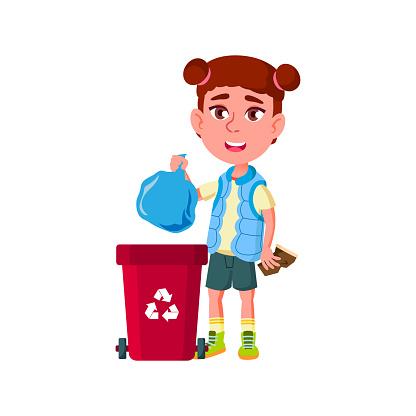 Girl Kid Throwing Rubbish Bag In Trash Can Vector