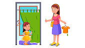 Girl kid trying on dress in shop fitting room & mother giving thumb up. Child daughter & mom bonding through buying clothes together. Family shopping in clothing store. Flat vector illustration