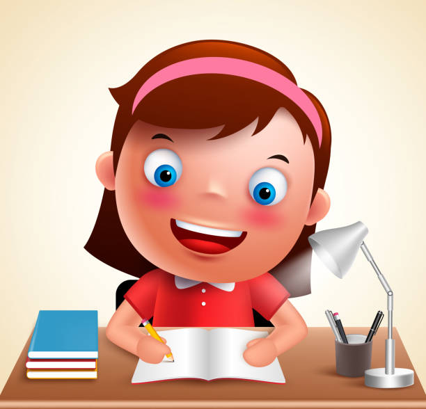 mädchen kind vektor charakter studium in schreibtisch machen schule hausaufgaben - buchstabenschreibweise stock-grafiken, -clipart, -cartoons und -symbole