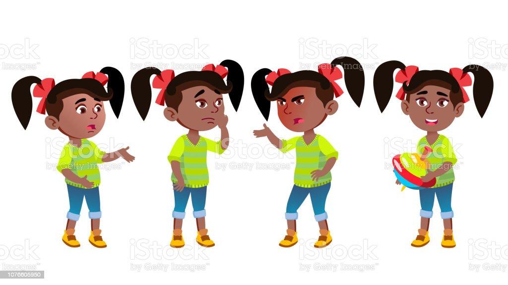 Jeune Fille Maternelle Kid émotions Set Vector Noir Afro