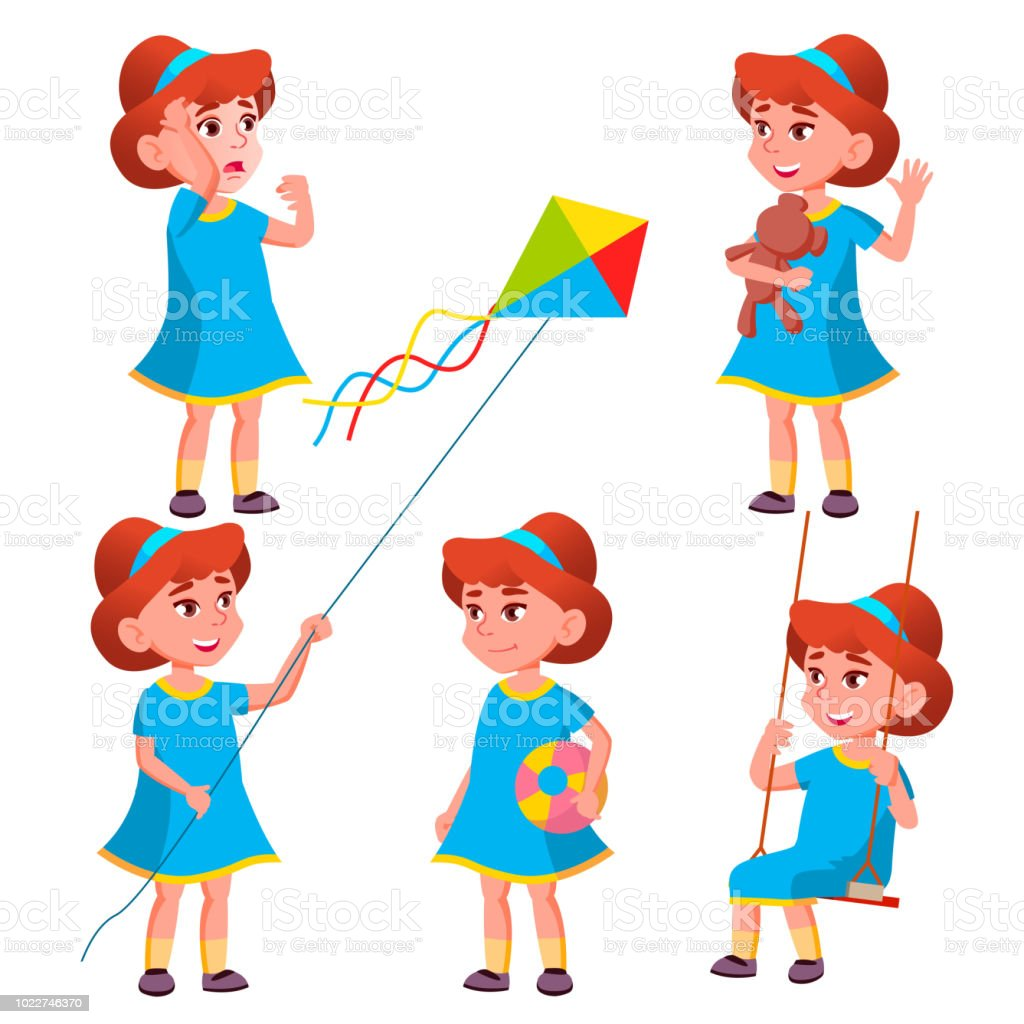 6a3976404b2 Girl Kindergarten Kid Poses Set Vector. Character Playing. Childish. Casual  Clothe. For