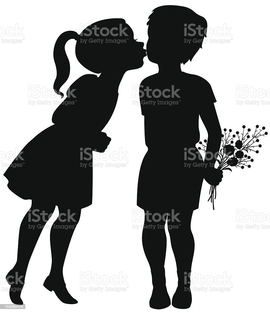 Girl kisses boy royalty-free stock vector art