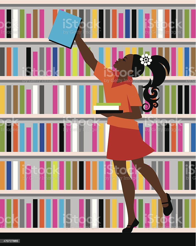 Girl Library Books C vector art illustration