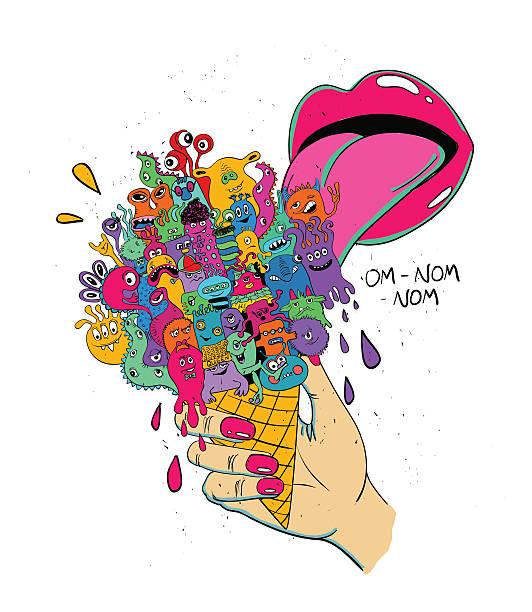 illustrazioni stock, clip art, cartoni animati e icone di tendenza di girl licking ice cream full of funny monsters. - lingua umana