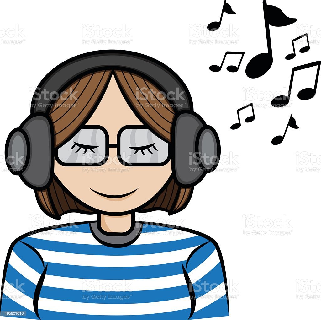 royalty free lady in glasses with earphones listen to music clip art rh istockphoto com