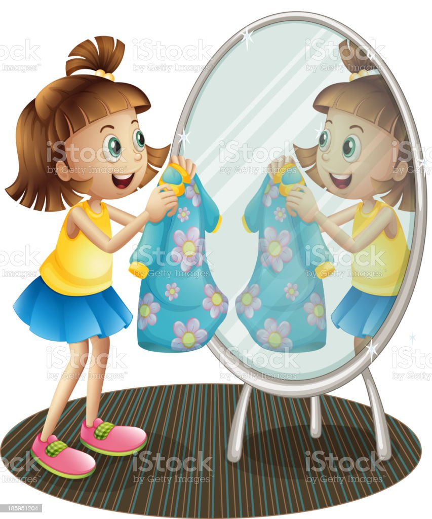 girl looking at the mirror with her dress royalty-free stock vector art