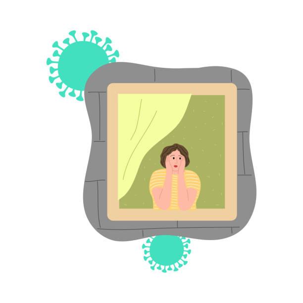 stockillustraties, clipart, cartoons en iconen met meisje dat venster bekijkt en thuis voor bescherming tegen coronavirus blijft - avondklok