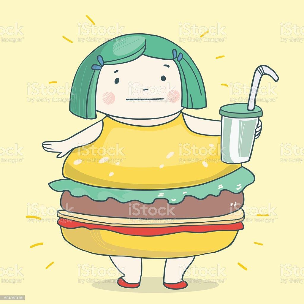 Girl looking like a hamburger vector art illustration
