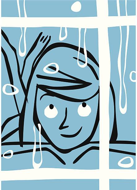 Niña mirando por la ventana ya que lluvias. - ilustración de arte vectorial