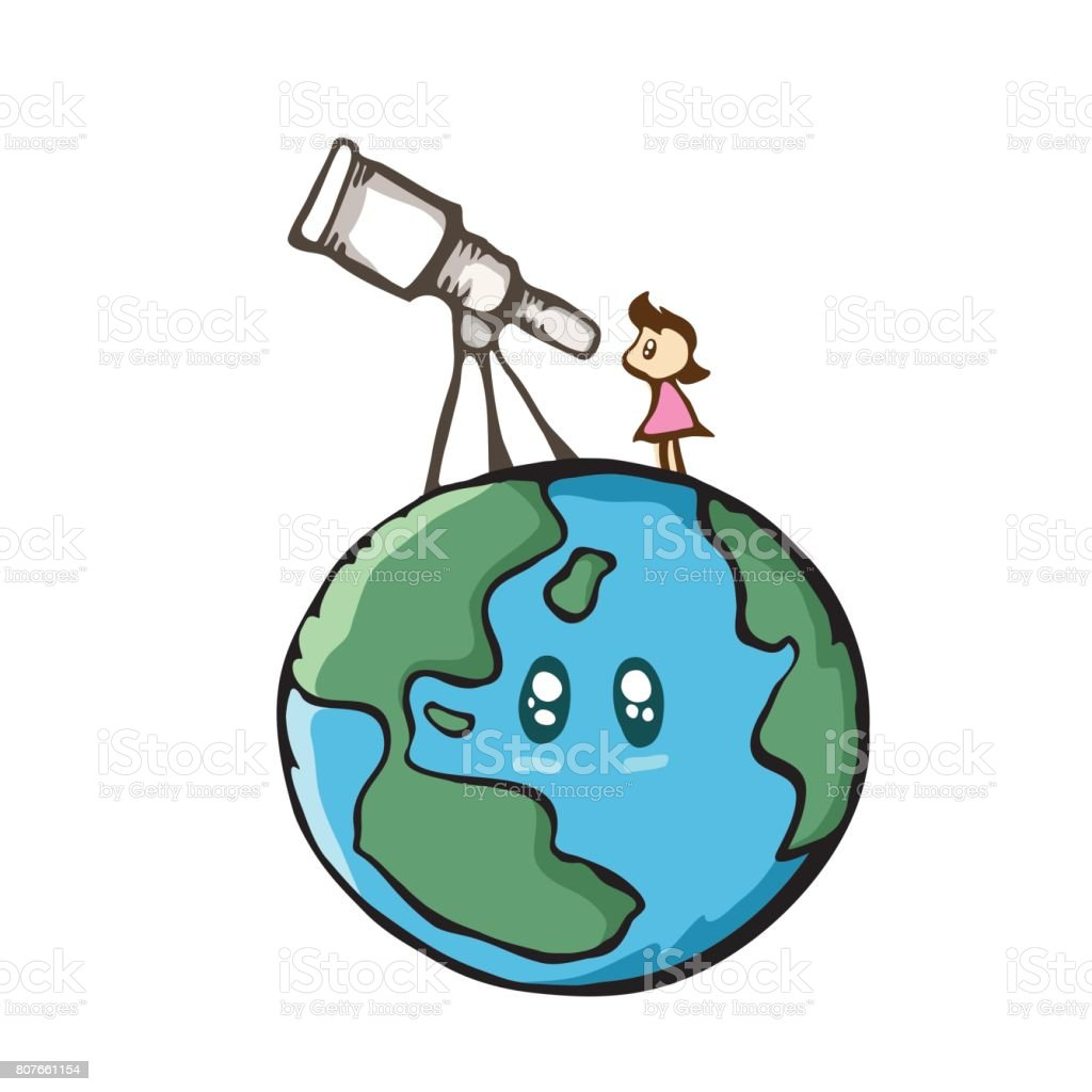 Girl Looking The Sky With Telescope On The Earth Cute Cartoon